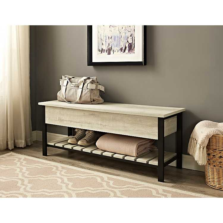 Pleasing White Oak Lift Top Storage Bench Caraccident5 Cool Chair Designs And Ideas Caraccident5Info