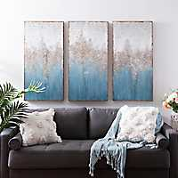 Set of 3 Turquoise Crystal Canvas Art Prints