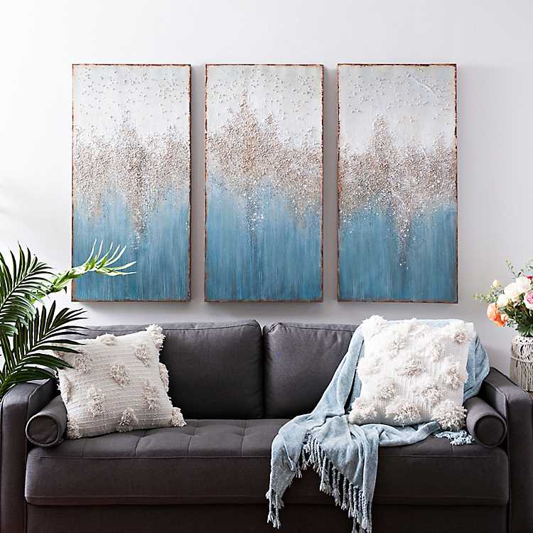 Turquoise Crystal Canvas Art Prints Set Of 3