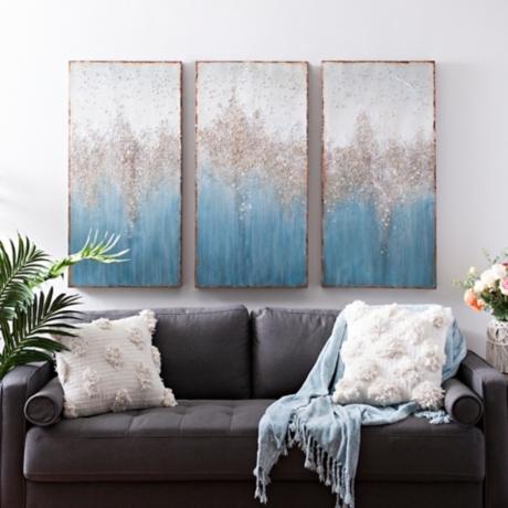 turquoise crystal canvas art prints set of 3 kirklands
