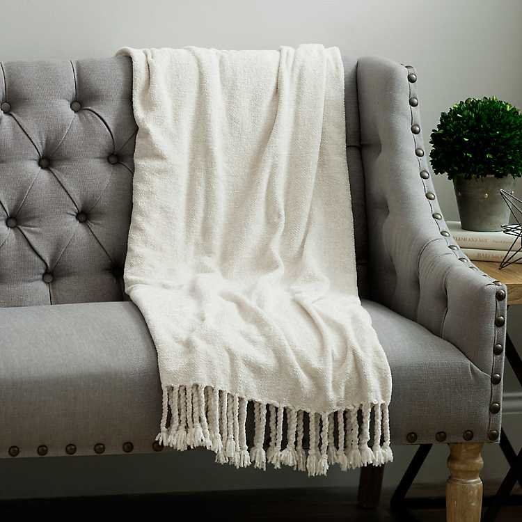 Cream Chenille Throw Blanket Kirklands