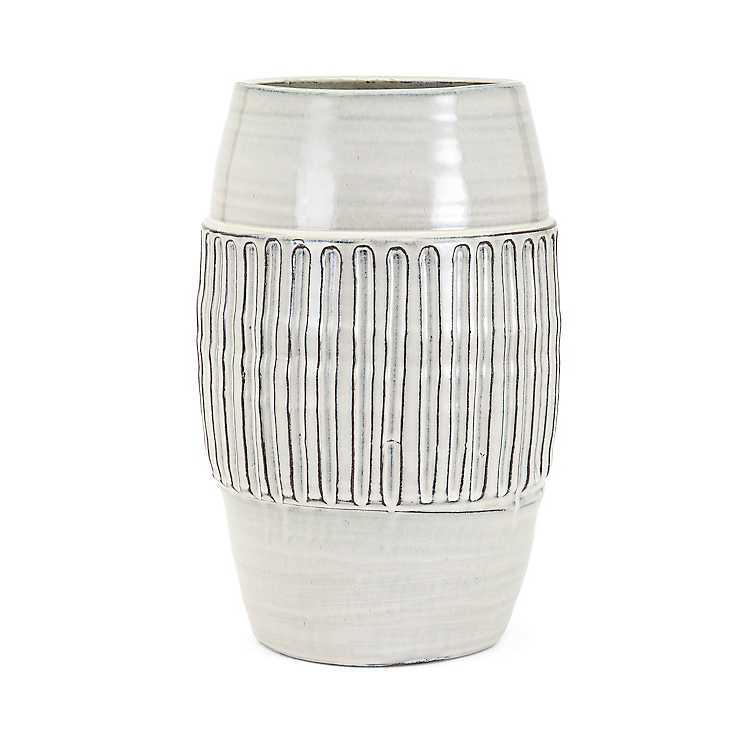 Hadley Large White Ceramic Vase Kirklands