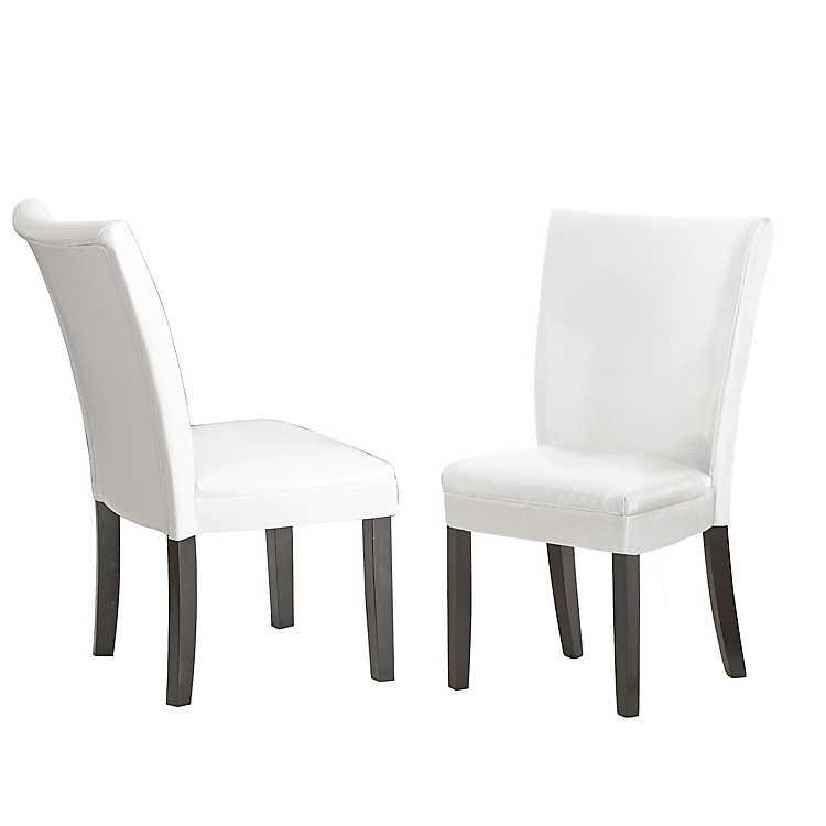 Marlowe White Leather Parsons Chairs, ...