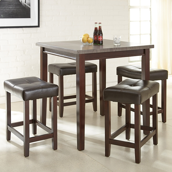 Abby Gray Top Driftwood 5-Piece Dining Set