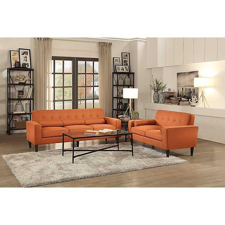 Orange Mid Century Modern Sofa