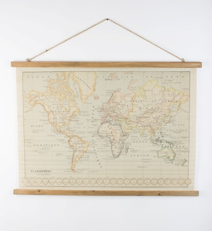 World map printed on canvas with wooden details kirklands gumiabroncs Images
