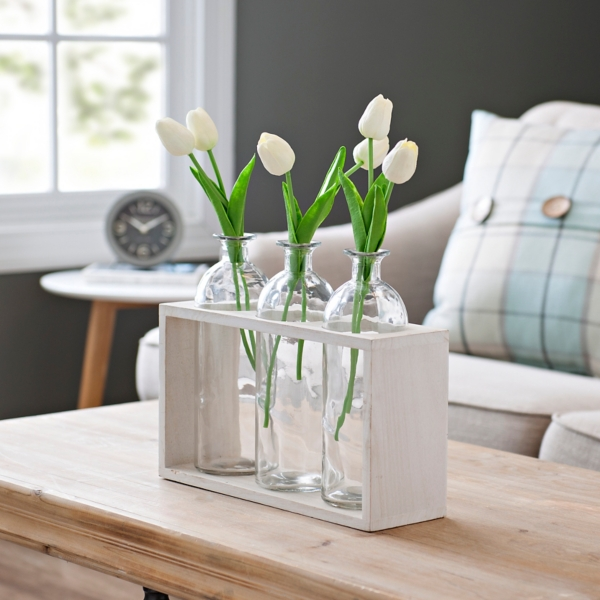 Triple Glass Bottle Vase Runner Set