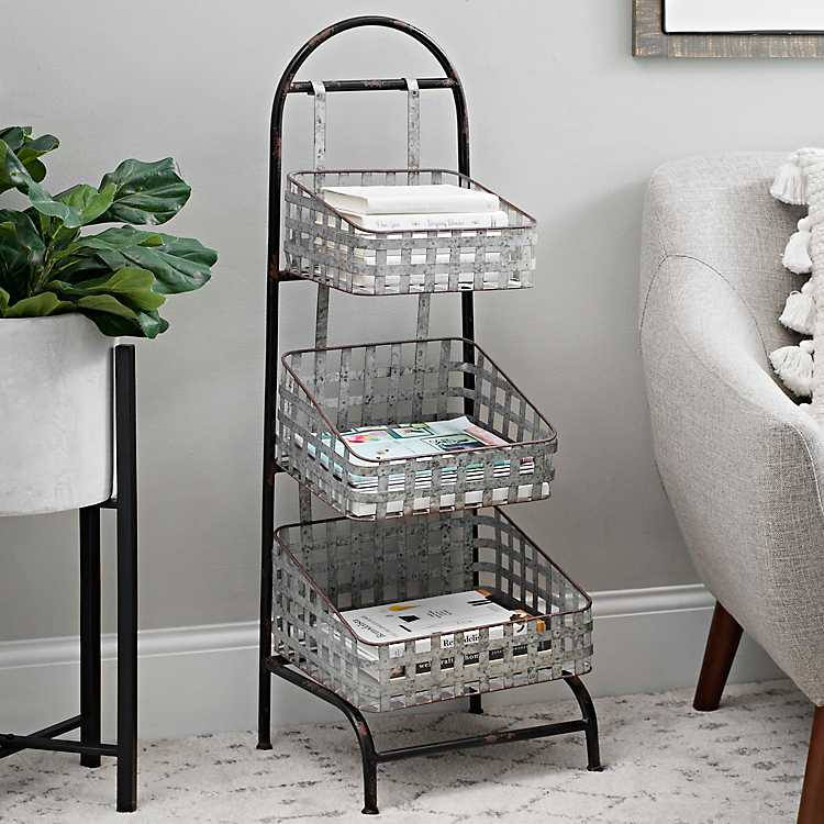 decorative baskets dried flowers small baskets country basket.htm galvanized woven 3 tier metal basket shelf kirklands  galvanized woven 3 tier metal basket
