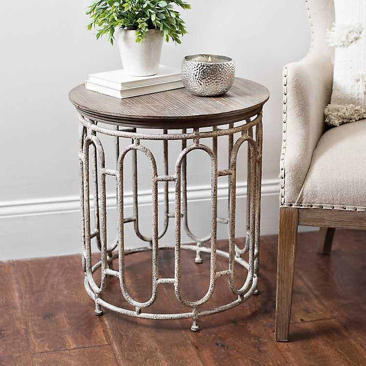 Product Details Harper Round Wood And Metal Accent Table