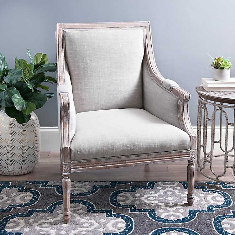 Fantastic Katie Gray Linen Accent Chair Short Links Chair Design For Home Short Linksinfo