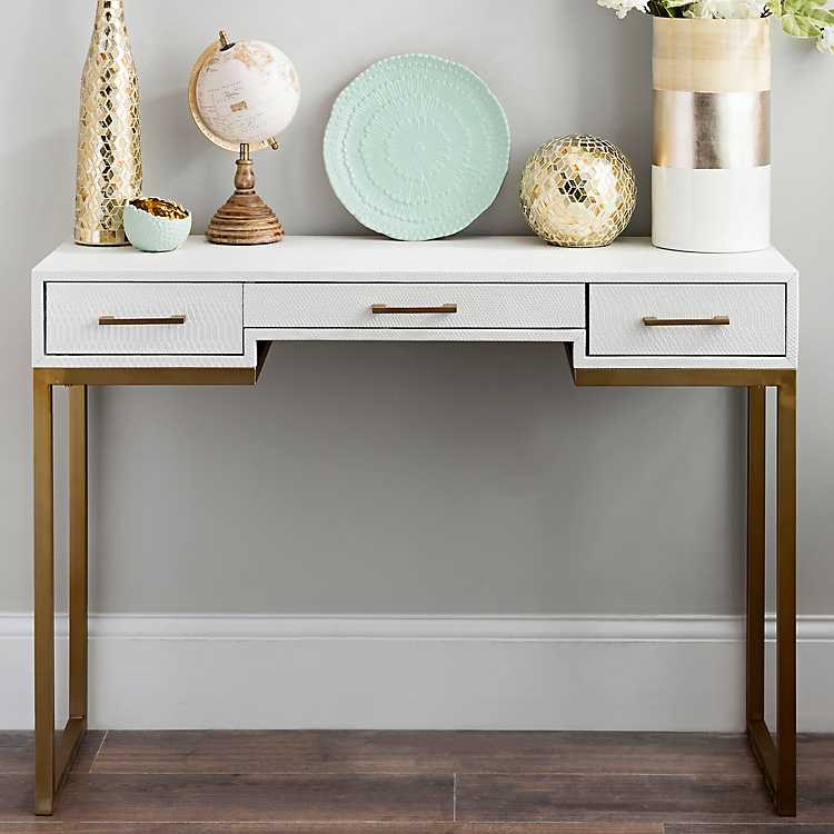 Charmant Product Details. White And Gold Console Table