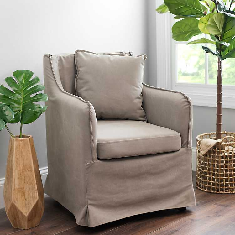 Tan Carter Canvas Accent Chair ...