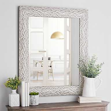 White Bark Framed Wall Mirror