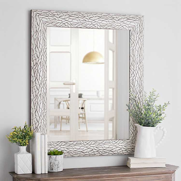 White Bark Framed Wall Mirror 29 4x35 4 In