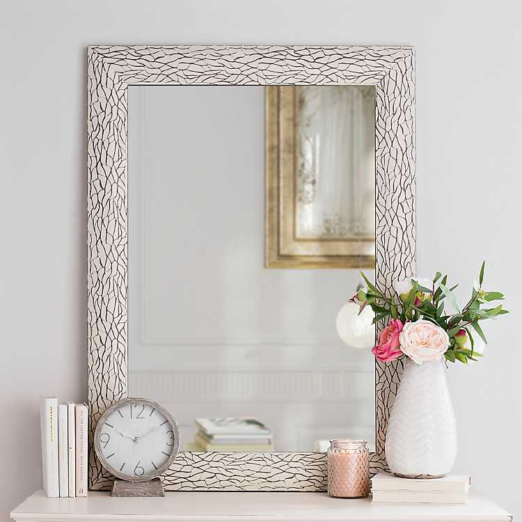 White Bark Framed Wall Mirror 31 4x43 4 In