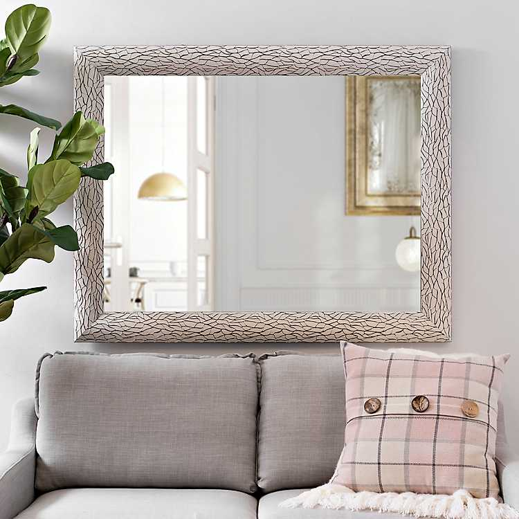White Bark Framed Mirror 37 4x47 4 In