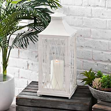 White Metal Caged Lantern
