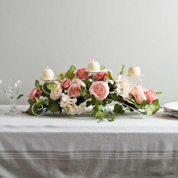 Pink Peony Floral Candle Centerpiece