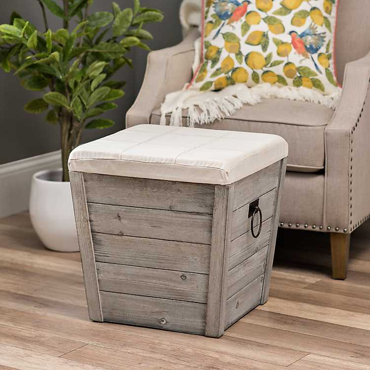 Terrific Gray Shiplap And Linen Tapered Storage Ottoman Squirreltailoven Fun Painted Chair Ideas Images Squirreltailovenorg