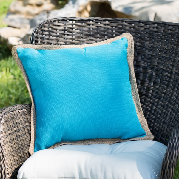 Turquoise Pillow with Jute Trim