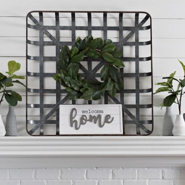 Galvanized Metal Tobacco Basket Plaque