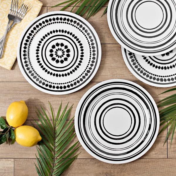 Black and White Art Print Dinner Plates
