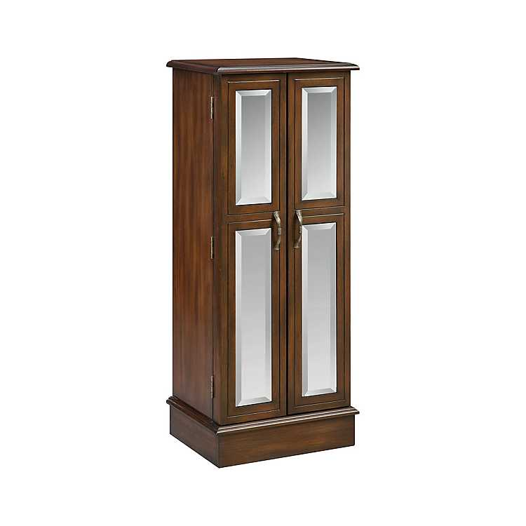Chestnut Mirrored Jewelry Armoire
