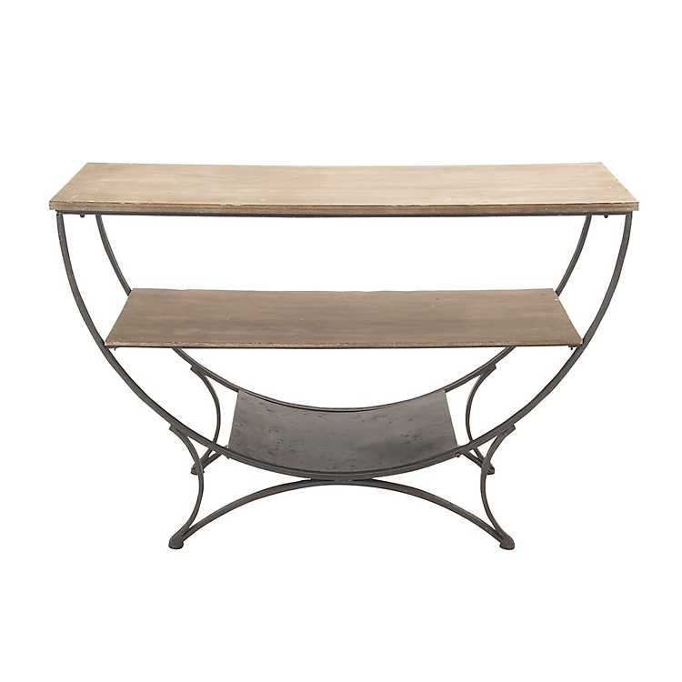 more photos 25d23 6f012 Weathered Wood and Metal Half-Moon Console Table