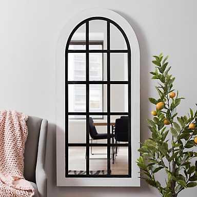 White and Black Wood Windowpane Arch Wall Mirror