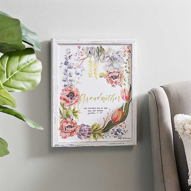 Grandmother Rustic Floral Framed Art Print | Kirklands