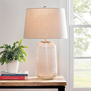 Layla blush knobbed glass table lamp