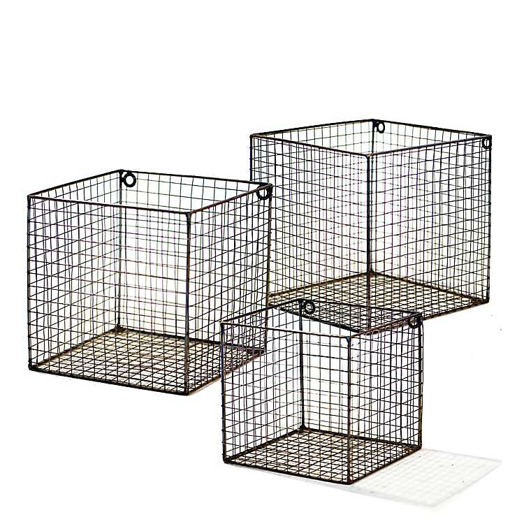Metal Wire Wall Baskets Set Of 3