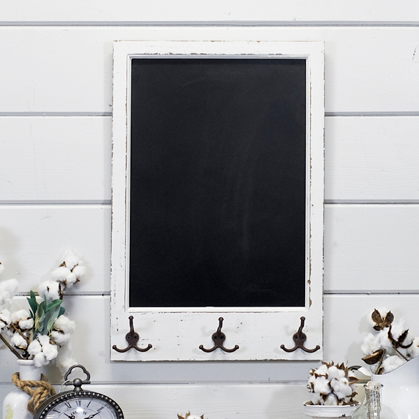 Wood Chalkboard With Hooks Wall Plaque