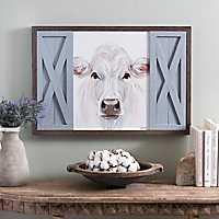 White Cow with Barn Doors Framed Art Print