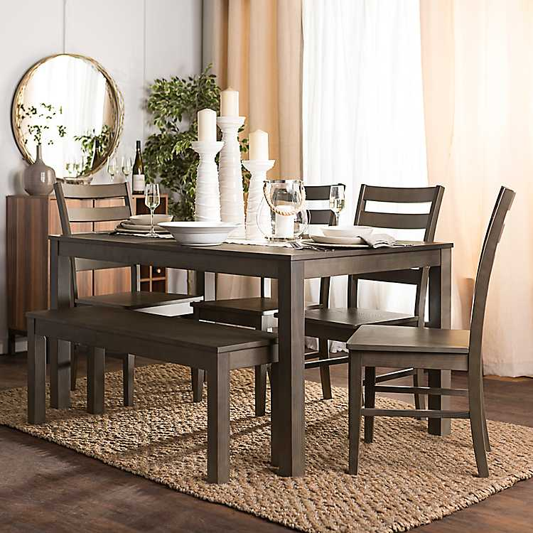 Harper Aged Gray Wood 6 Pc. Dining Set ...