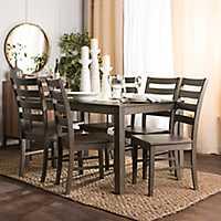 Harper Aged Gray Wood 7-Piece Dining Set