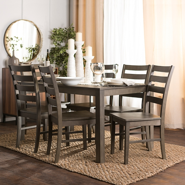 Harper Aged Gray Wood 7-Piece Dining Set