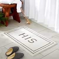 WHis Gray and White Bath Mat