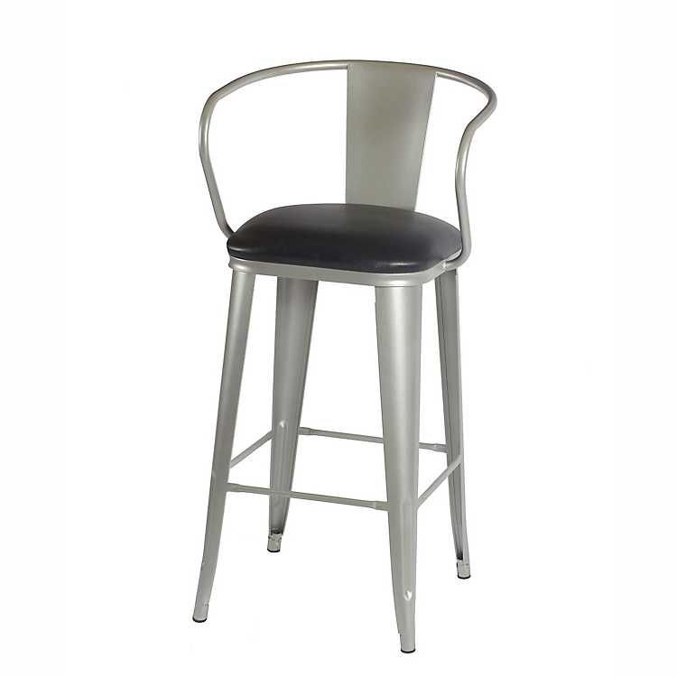 Theodore Silver Metal Counter Stool