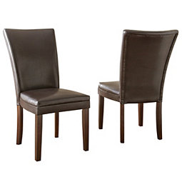 Brown Hughes Leather Parsons Chairs Set Of 2