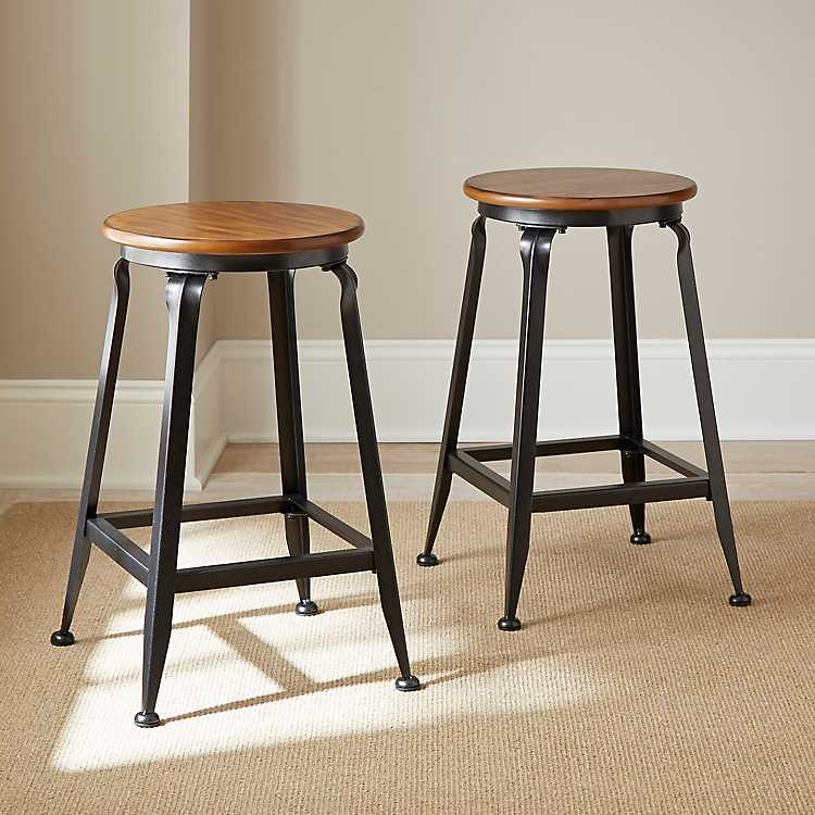 Magnificent Jaxon Wood And Metal Counter Stools Set Of 2 Squirreltailoven Fun Painted Chair Ideas Images Squirreltailovenorg