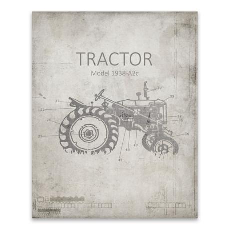 Farm tractor blueprint canvas art print kirklands malvernweather Image collections