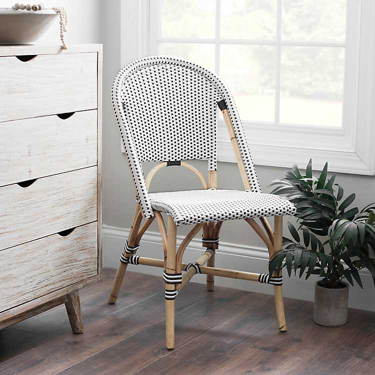 Groovy Black And White Rattan French Bistro Chair Ibusinesslaw Wood Chair Design Ideas Ibusinesslaworg
