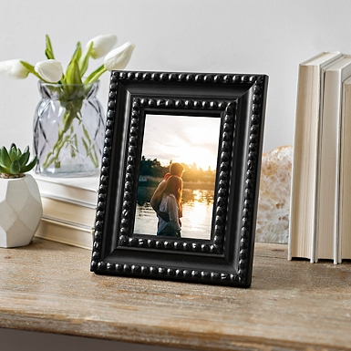 Distressed Black Beaded Picture Frame 4x6