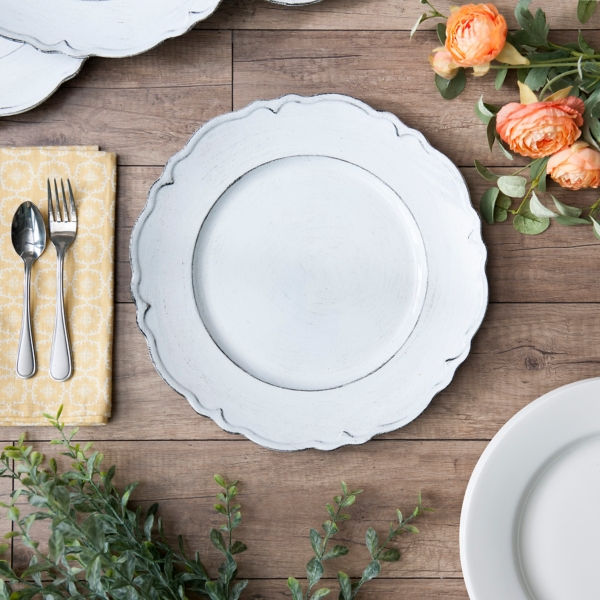 White Savannah Scalloped Chargers Set of 4 & Charger Plates | Kirklands