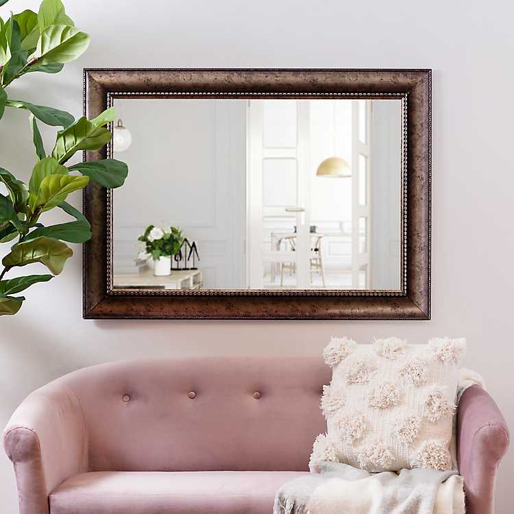 bronze wave framed wall mirror, 31x43 in kirklandsbronze wave framed wall mirror, 31x43 in