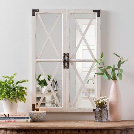 Distressed White Barn Door Mirror
