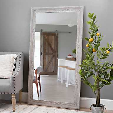 Gray Wood Grain Framed Mirror