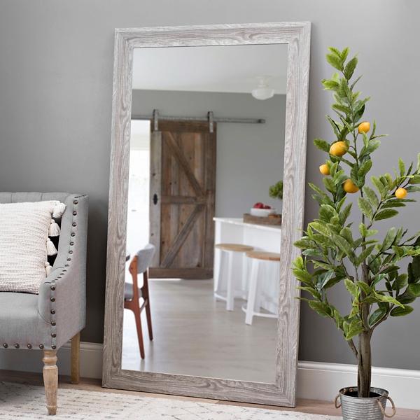 Gray Wood Grain Framed Mirror
