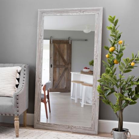 Gray Wood Grain Framed Mirror, 37.5x67.5 in.   Kirklands